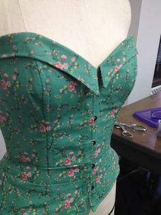 Bustier Designed, Patterned, and Constructed by @Blue Moose  #green #floral #corsets  Patternmaking: Draping Class