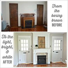 DIY Fireplace Surround Makeover: From the boring brown before to the light bright and white after.Such an easy way to do a DIY farmhouse style fireplace makeover on a budget with shiplap above the mantle and using stone tile and ply wood Wooden Fireplace, Shiplap Fireplace, Farmhouse Fireplace, Fireplace Remodel, Fireplace Makeovers, Fireplace Ideas, Fireplace Design, Craftsman Farmhouse, Farmhouse Style