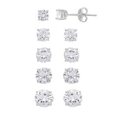 Featuring five different sizes of cubic zirconia stones, this sterling silver stud earring set is sure to provide the perfect pair for any ensemble. Sterling Silver Earrings Studs, Diamond Earrings, Stud Earrings, Jewelry Sets, Women Jewelry, Black Diamond Studs, Post Metal, Polished Nickel, Earring Set