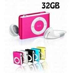 Odtwarzacz MP3 32 GB słuchawki, czytnik kart, klips