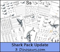 FREE Shark Pack Update - Over 45 pages added with Math and Language Activities for ages 4 through 9