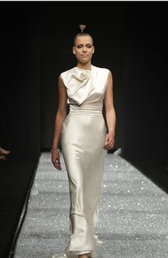 David Fielden - High Neck Sheath Gown in Satin. Love this look to wear as my reception dress!