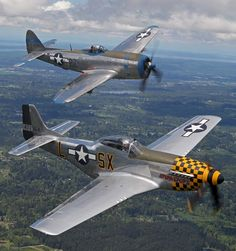 Republic P-47 Thunderbolt and P-51 Mustang