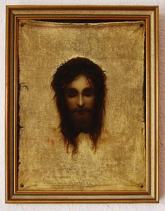 Veil of Veronica - If you look closely, the eyes appear to be open at times and at other times they appear to be closed. According to Catholic tradition, St. Veronica was moved with pity when she saw Jesus carrying his cross to Golgotha & gave him her veil that he might wipe his forehead. Jesus accepted the offering, held it to his face, & then handed it back to her - the image of his face miraculously impressed upon it. This piece of cloth became known as the Veil of Veronica.