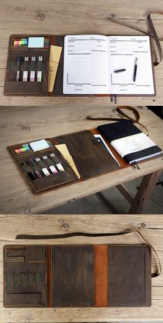 This full grain leather portfolio is specially designed for x 11 inch Panda Planner Pro , Triple fold design allow you to write on the left page o Leather Book Covers, Leather Books, Leather Notebook, Leather Journal, Leather Cover, Objet Harry Potter, Leather Portfolio, Leather Projects, Leather Craft