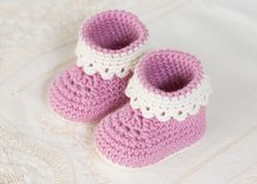Pink Lady Baby Booties - Free Crochet Pattern by Hopeful Honey