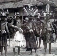 Warriors on Nias Island. ca. 1920 | Postcard; photographer Leo Haas // Nias…