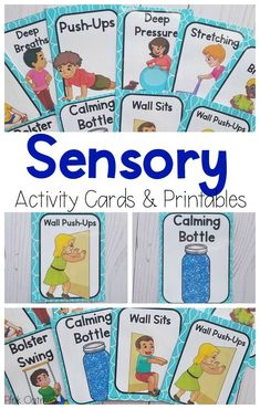 Sensory break cards and printables. This set of cards and printables contains 26 different sensory activities. These sensory activities for kids are perfect for special education, occupational therapy, sensory activities for the classroom, and beyond!