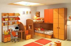 Id Do The Orange With Blue Or Green Rather Then The Yellow Charming Orange  Themed Boys And Girls Bedroom Design With Loft Beds
