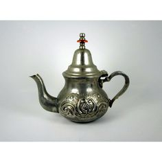 Vintage 1930s Teapot Hand Made North African Embossed Engraved INOX... ($18) ❤ liked on Polyvore featuring home, home decor, decorative hardware, inox, stainless knobs, handmade home decor and stainless steel knobs