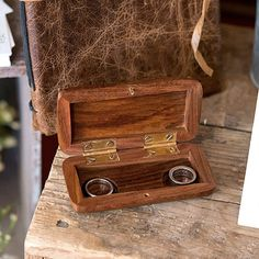 A handsome alternative to a classic wedding ring pillow. Add this rustic, vintage inspired, miniature wooden ring box to your wedding day ceremony or to your an