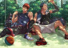 kuroko no basket, anime, and kagami taiga image Manga Anime, Fanarts Anime, Anime Art, Aomine Kuroko, Kagami Taiga, Anime Love, Anime Guys, Cool Animes, Basketball