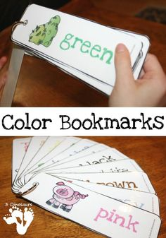 Free Color Bookmarks - 11 colors with a picture and the color word - 3Dinosaurs.com