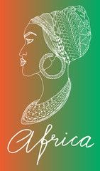 African woman in turban, Africa, zentangle technique, vector