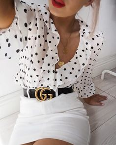 polka dot blouse outfit with Gucci belt Mode Outfits, Fashion Outfits, Womens Fashion, Skirt Outfits, Fashion Clothes, How To Wear Belts, Summer Outfits, Casual Outfits, Office Outfits