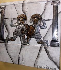 A Batalha dos Fortes - Reprodução artística em latonagem da batalha entre Aquiles e Heitor.