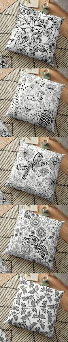 5 floor pillows in black and white in my #Redbubble shop #pattern #blackandwhite #ink #inkpattern #roses #rosespattern #doodle #floral #bird #doodlepattern #homedecor #homedecorideas #homedesign #katerinakart #pillow #floorpillow