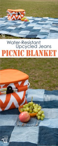 This is the best picnic blanket ever! Make an Easy Water-Resistant Upcycled Jeans Picnic Blanket from your old jeans. It makes a super sturdy picnic blanket for the spring and summer.   Housefulofhandmade.com