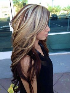 Brown Hair with Chunky Blonde Highlights Color!!!