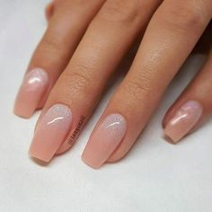 REPOST - - - - Peachy Nude with Glitter Ombre on tapered Square Nails - - - - Nail Design by Perfect Nails, Gorgeous Nails, Pretty Nails, How To Do Nails, My Nails, Dark Nails, Types Of Nails Shapes, Nails Types, Different Nail Shapes