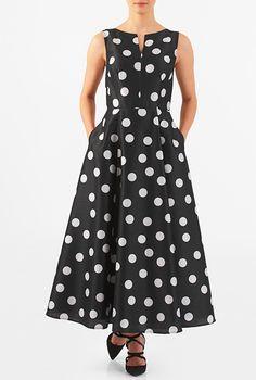 I <3 this Polka dot print dupioni maxi dress from eShakti