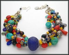 KIFFA - African Beads - Javanese Kiffa Beads - Turquoise - 4 Strand Statement Necklace