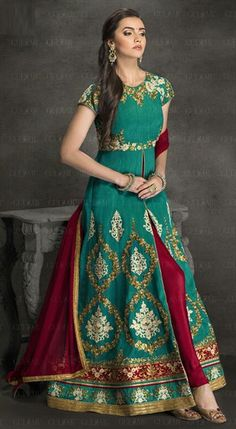 474617 Green  color family Party Wear Salwar Kameez in Silk fabric with Lace,Machine Embroidery,Resham,Thread,Zari work .