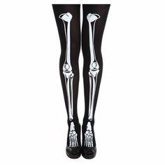287756ca2 Meia Calça Ossos  meia  calça  preta  estampada  ossos  bones  esqueleto   goth  halloween  tights