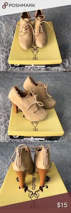 Tan/nude heels Lace up front, lace detail around the edges. Used but still in great condition. Shoes Heels
