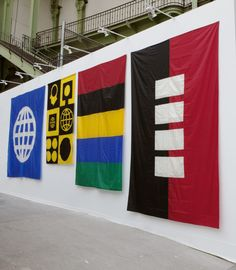 Installation view of Matt Mullican's banners (all from 1991) at Peter Freeman Gallery's booth, FIAC 2016. Courtesy Peter Freeman.