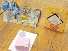 Mothers day card : Stepper Card(Magenta template), gift bag, mini box.....  student's creation