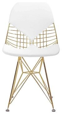 M245 Chair in Gold and White, Gold & White - modern - Chairs - Meelano $185