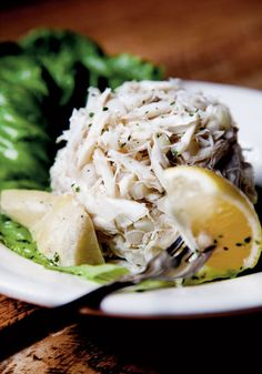 West Indies Salad from Felix's Fish Camp.  This crabmeat and onion salad, marinated in oil and vinegar, is one of Mobile's native dishes.  Photo from Garden & Gun.