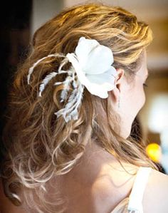 Wavy Down-Do with Feather Accessory
