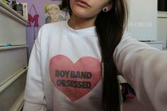 sweater boyband boybands one direction m.a.d sweateshirt sweatshirt heart pink white black tumblr quality