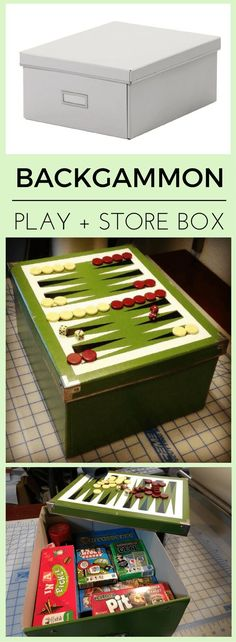 Games night on! Hack a handy board games storage and play box. http://www.ikeahackers.net/2017/07/simple-box-turned-backgammon-storage-box.html