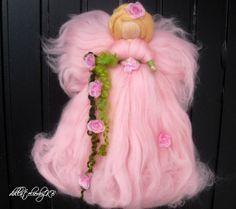Ooak fairy doll 9.2 inch pink roses fairy by dollatelierbyKB, $16.00
