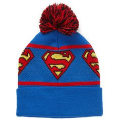 Forever 21 Men Superman Pom Beanie ($8.99) ❤ liked on Polyvore featuring men's fashion, men's accessories, men's hats, hats and beanies