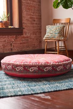 Red and Pink Medallion Pouf - Earthbound Trading Co.