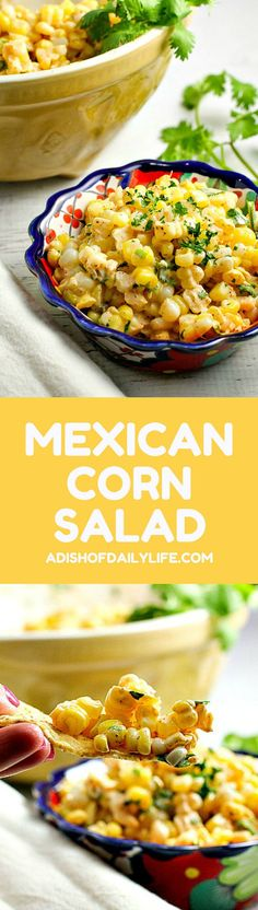 Like Mexican street corn? Turn it into a salad! This easy and delicious 15 minute Chili Lime Mexican Corn Salad recipe can be used as an appetizer for game day or tailgating, or as a side dish for any Mexican dinner or your next cookout!