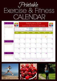 New And Improved Printable Fitness Calendar  Fitness Calendar