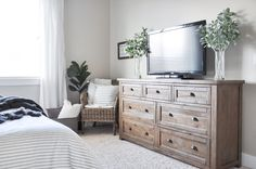 Modern Farmhouse Master Bedroom (Seneca dresser from Birch Lane)