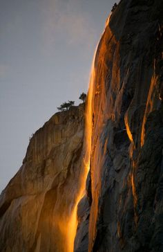 Horsetail Falls, Yosemite National Park. The sun catches El Capitan's Horsetail Falls on fire every night for a couple of weeks in February.