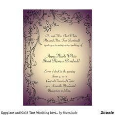 "Eggplant and Gold Tint Wedding Invitation 5"" X 7"" Invitation Card"