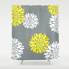 Damask and Stripe - Grey and Yellow Shower Curtain - Any Color ...