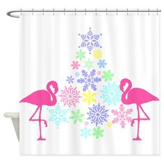 pink flamingo Christmas snowflake tree Shower Curtain on CafePress.com