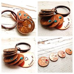 Lucky Me penny keychain hand stamped custom by faeriekissageStudio, $20.00