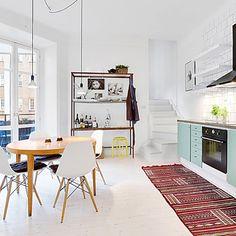 Like no upper cabinets. makes the kitchen seem bigger and airier Minimalist House Design, Minimalist Home, Dining Room Design, Kitchen Design, Kitchen Ideas, Green Kitchen, Pastel Kitchen, Scandinavian Interior Design, Upper Cabinets