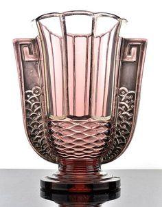 "2597/VERY RARE BELGIAN ART DECO GLASS VASE ""ROMEO"" VAL SAINT LAMBERT 1935."