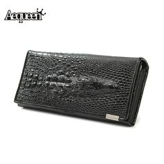 Fashion Genuine Leather 3D Crocodile Long Wallet Women Alligator Embossed Emboss Billfold Lady Zipper Purse Female Clutch *** Want to know more, click on the image.